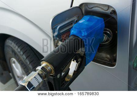Car Refueling At Petrol Station Close Up.