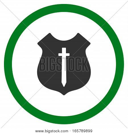 Guard Shield vector bicolor rounded icon. Image style is a flat icon symbol inside a circle, green and gray colors, white background.