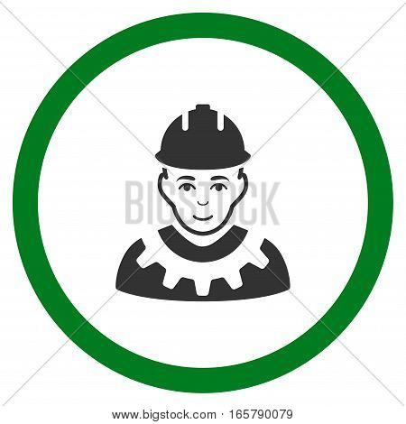 Industrial Builder vector bicolor rounded icon. Image style is a flat icon symbol inside a circle, green and gray colors, white background.
