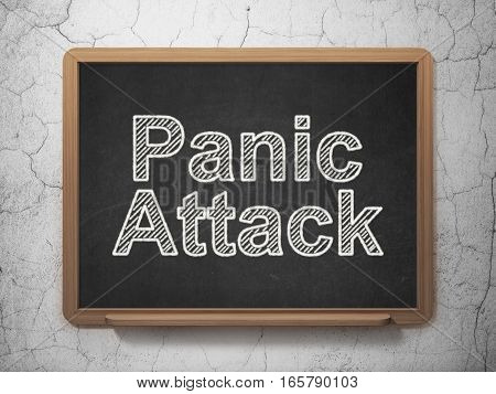Medicine concept: text Panic Attack on Black chalkboard on grunge wall background, 3D rendering