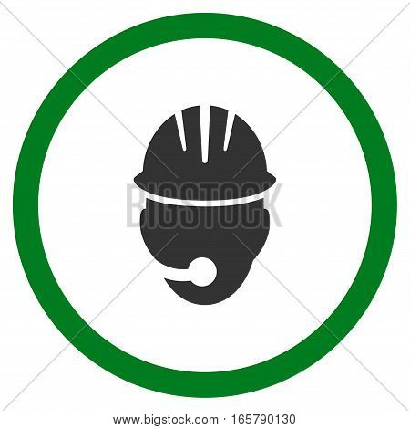 Industrial Operator vector bicolor rounded icon. Image style is a flat icon symbol inside a circle, green and gray colors, white background.