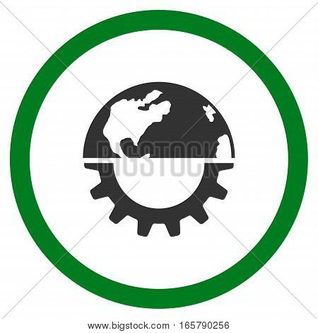 International Industry vector bicolor rounded icon. Image style is a flat icon symbol inside a circle, green and gray colors, white background.