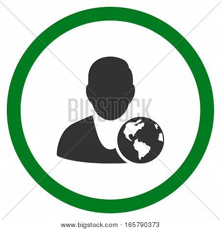 International Manager vector bicolor rounded icon. Image style is a flat icon symbol inside a circle, green and gray colors, white background.