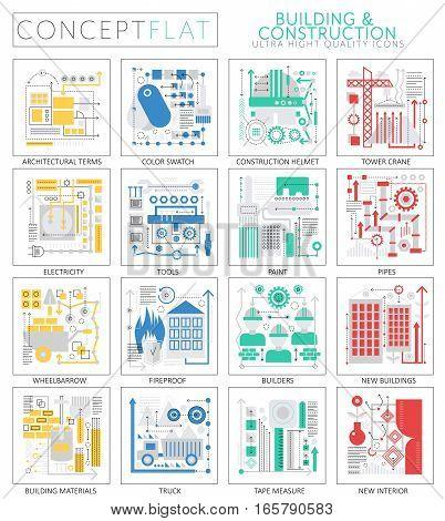 Infographics mini concept building construction tools technology icons for web. Premium quality design web graphics icons elements. building construction concepts