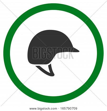 Motorcycle Helmet vector bicolor rounded icon. Image style is a flat icon symbol inside a circle, green and gray colors, white background.