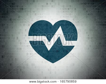 Healthcare concept: Painted blue Heart icon on Digital Data Paper background