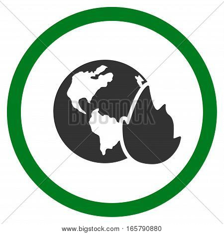 Planet Flame vector bicolor rounded icon. Image style is a flat icon symbol inside a circle, green and gray colors, white background.