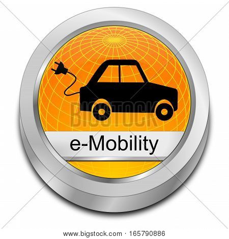 decorative orange  e-Mobility Button - 3D illustration