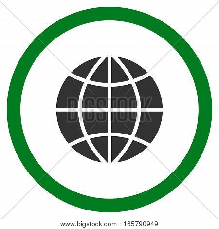Planet Globe vector bicolor rounded icon. Image style is a flat icon symbol inside a circle, green and gray colors, white background.