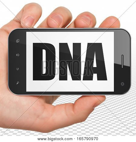 Healthcare concept: Hand Holding Smartphone with black text DNA on display, 3D rendering