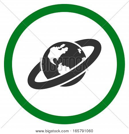 Ringed Planet vector bicolor rounded icon. Image style is a flat icon symbol inside a circle, green and gray colors, white background.