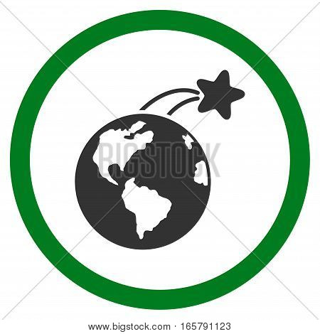 Rising Satellite On Earth vector bicolor rounded icon. Image style is a flat icon symbol inside a circle, green and gray colors, white background.