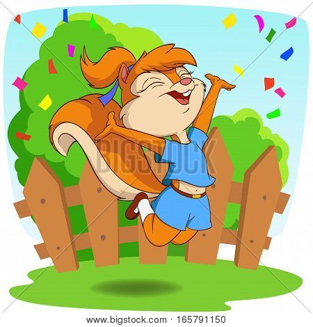 Cute cartoon squirrel in jump fly on the nature background
