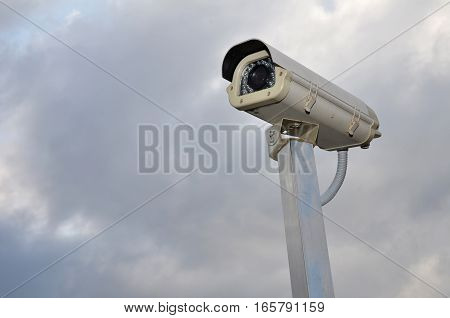 Security Camera Against A Cloudy Sky