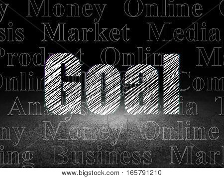 Advertising concept: Glowing text Goal in grunge dark room with Dirty Floor, black background with  Tag Cloud