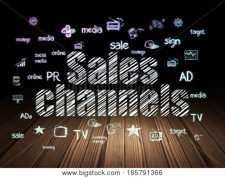 Marketing concept: Glowing text Sales Channels,  Hand Drawn Marketing Icons in grunge dark room with Wooden Floor, black background
