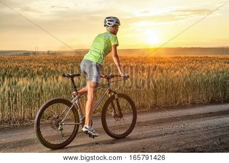 Young woman on the mountain bike. Girl riding bicycle on the road. Walk on the bike in nature. Beautiful sunset. Back view.
