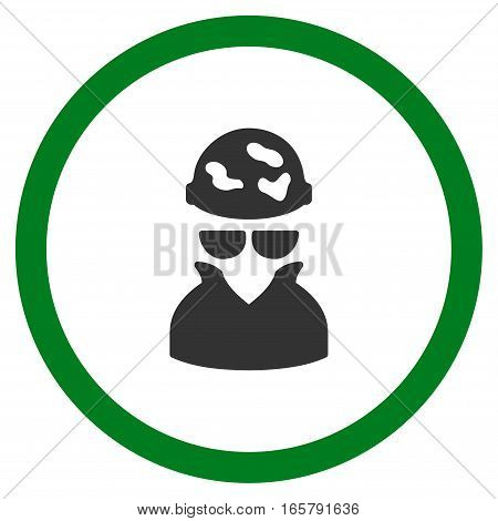 Spotted Spy vector bicolor rounded icon. Image style is a flat icon symbol inside a circle, green and gray colors, white background.