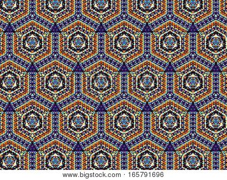 Geometric decorative ornamental blue and orange pattern. Abstract horizontal background.