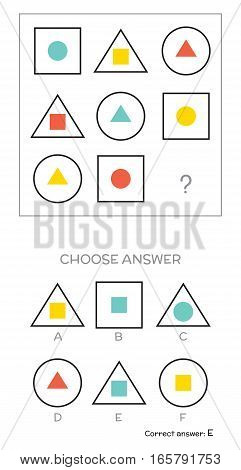 IQ test. Choose answer. Logical tasks composed of geometric shapes. Vector illustration