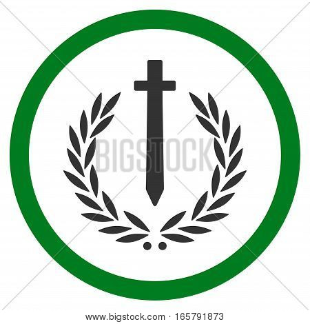 Sword Honor Embleme vector bicolor rounded icon. Image style is a flat icon symbol inside a circle, green and gray colors, white background.