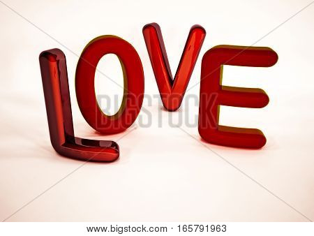 Dimensional inscription of LOVE on background.  3D rendering.