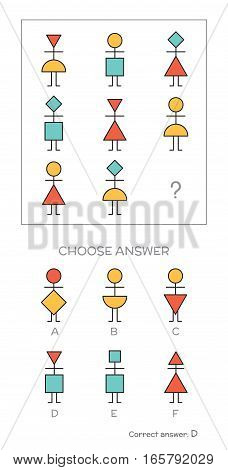 IQ test. Choose correct answer. Logical tasks composed of geometric people shapes. Vector illustration