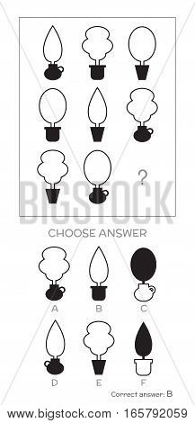 IQ test. Choose correct answer. Logical tasks composed of geometric plant shapes. Vector illustration