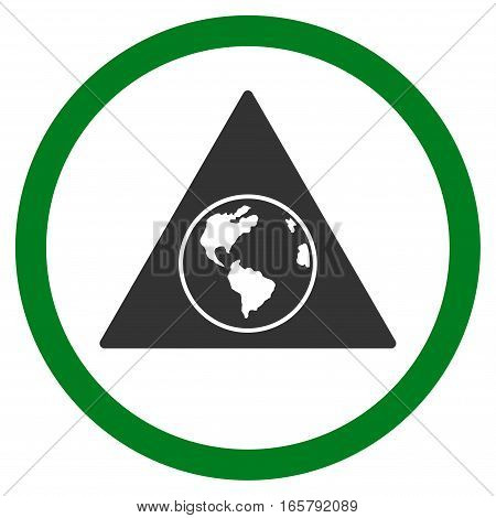 Terra Triangle vector bicolor rounded icon. Image style is a flat icon symbol inside a circle, green and gray colors, white background.