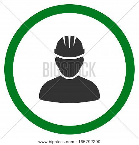 Worker Person vector bicolor rounded icon. Image style is a flat icon symbol inside a circle, green and gray colors, white background.