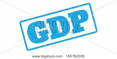 Blue rubber seal stamp with GDP text. Vector tag inside rounded rectangular banner. Grunge design and unclean texture for watermark labels. Inclined emblem on a white background.