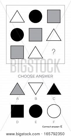 IQ test. Choose answer. Logical tasks composed of geometric shapes. Vector illustration poster