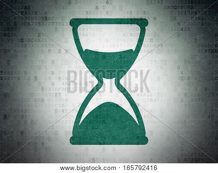 Time concept: Painted green Hourglass icon on Digital Data Paper background