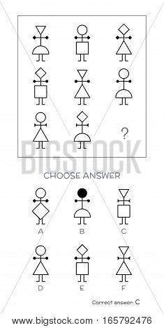 IQ test. Choose correct answer. Logical tasks composed of people shapes. Vector illustration poster