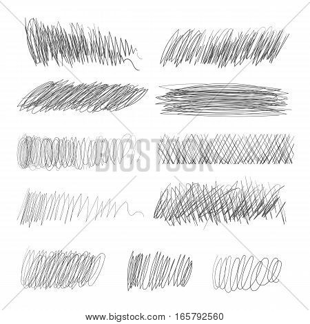 Pencil hatching. Vector illustration. Isolated on white background