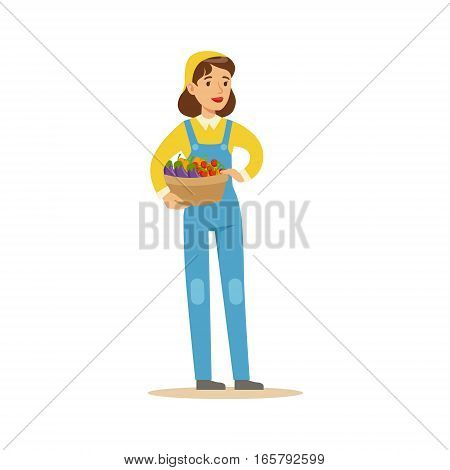 Woman Wirh Basket Of Fresh Vegetables, Farmer Working At The Farm And Selling On Natural Organic Product Market. Cartoon Happpy Character Growing Crops And Animals Professionally Vector Illustration.