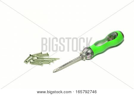 green screw driver and black screw on white background