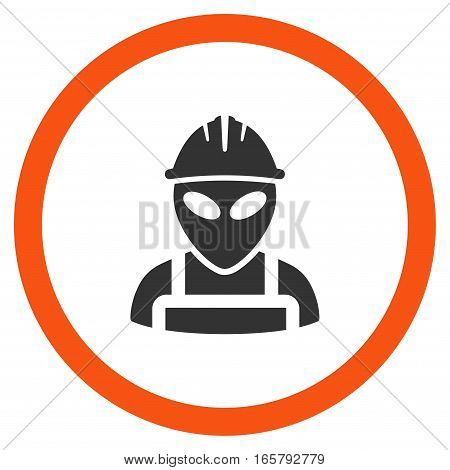 Alien Worker vector bicolor rounded icon. Image style is a flat icon symbol inside a circle, orange and gray colors, white background.