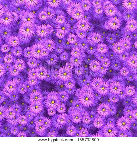 Beautiful purple flowers scattering on wall 3D illustration