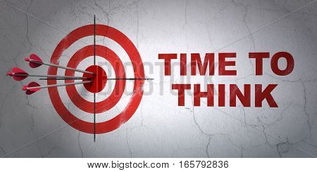 Success time concept: arrows hitting the center of target, Red Time To Think on wall background, 3D rendering