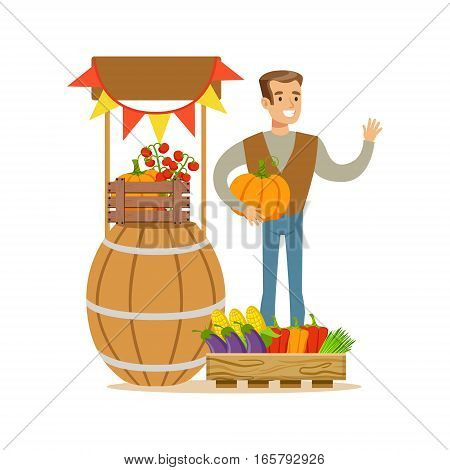 Man With Stand Of Fresh Vegetables, Farmer Working At The Farm And Selling On Natural Organic Product Market. Cartoon Happpy Character Growing Crops And Animals Professionally Vector Illustration.