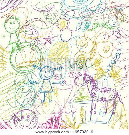 Children doodle. Colored pencils scribbles Vector illustration