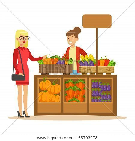 Woman Buying Fresh Vegetables From Farmer Working At The Farm And Selling On Natural Organic Product Market. Cartoon Happpy Character Growing Crops And Animals Professionally Vector Illustration.