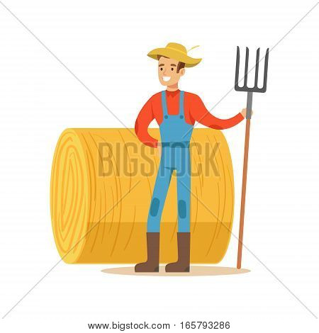 Man With Fork Standing Next To Hay Stack, Farmer Working At The Farm And Selling On Natural Organic Product Market. Cartoon Happpy Character Growing Crops And Animals Professionally Vector Illustration.