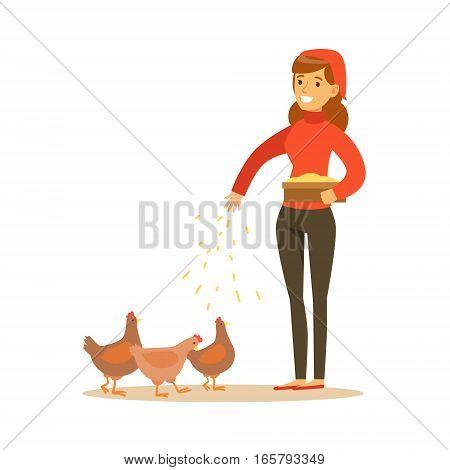 Woman Feeding Chickens, Farmer Working At The Farm And Selling On Natural Organic Product Market. Cartoon Happpy Character Growing Crops And Animals Professionally Vector Illustration.