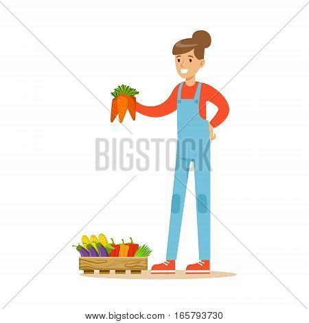 Woman Holding Bunch Of Carrots, Farmer Working At The Farm And Selling On Natural Organic Product Market. Cartoon Happpy Character Growing Crops And Animals Professionally Vector Illustration.