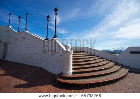 the stairs descending to he French Square in Casco Viejo Panama City