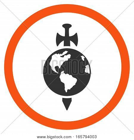Earth Guard vector bicolor rounded icon. Image style is a flat icon symbol inside a circle, orange and gray colors, white background.