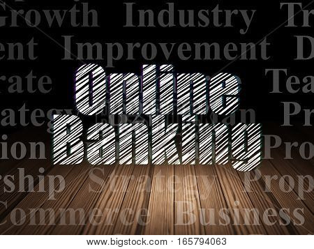 Business concept: Glowing text Online Banking in grunge dark room with Wooden Floor, black background with  Tag Cloud