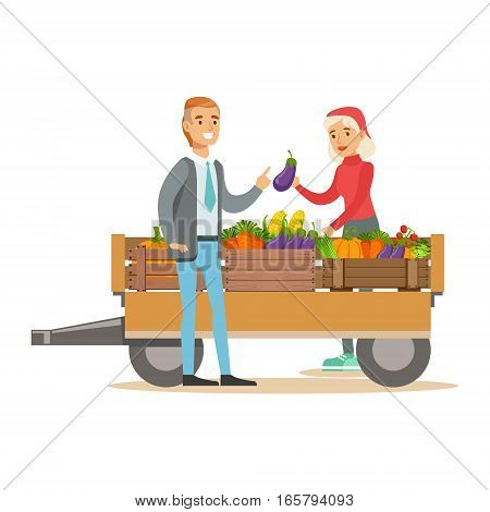 Man Buying Fresh Vegetables From Woman With Farming Cart, Farmer Working At The Farm And Selling On Natural Organic Product Market. Cartoon Happpy Character Growing Crops And Animals Professionally Vector Illustration.